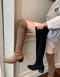 Fashion Khaki Thick-heeled Small Square Toe Over The Knee High Boots