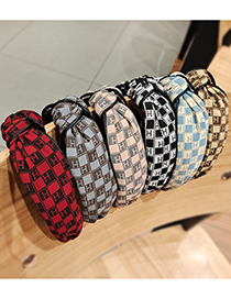 Fashion Brown Letter Knotted Broad Edge Fabric Check Hair Band