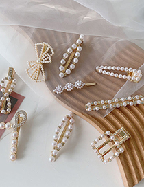 Fashion Gold Color Bowknot Pearl Hollow Metal Edge Flower Geometric Hairpin