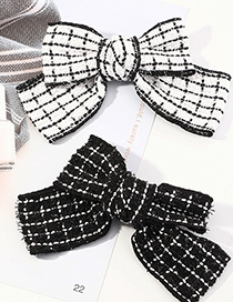 Fashion White Checked Bowknot Fabric Alloy Hairpin