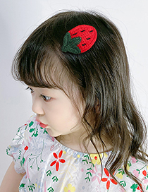 Fashion Strawberry Bowknot Hair Ball Check Fabric Alloy Childrens Hairpin