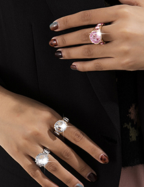 Fashion Gold Pink Diamond Diamond Geometric Alloy Ring