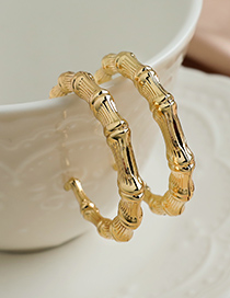 Fashion Golden Alloy Striped Bamboo Circle Stud Earrings