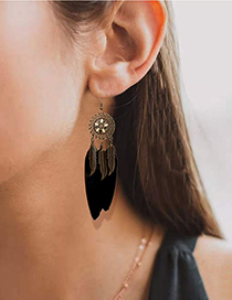 Fashion Color Mixing Alloy Flower Feather Tassel Earrings
