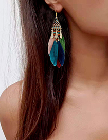 Fashion Color Mixing Triangle Feather Long Tassel Alloy Earrings