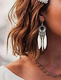 Fashion White Alloy Flower Feather Tassel Drip Earrings