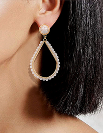 Fashion Triangle Alloy Inlaid Pearl Geometric Hollow Earrings