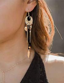 Fashion Black Alloy Feather Tassel Long Earrings