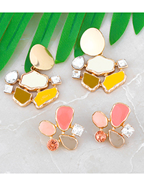 Fashion Yellow Oil Drop Diamond Geometric Alloy Earrings