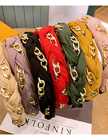Fashion Yellow Chain Leather Velvet Cross Wide Edge Non-slip Toothed Headband