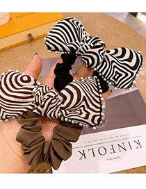 Fashion Black Handmade Beaded Fringe Bow Striped Hair Rope