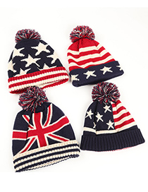Fashion Stars + Red And White Stripes Pozi Flag Star Stripe Knitted Woolen Hat
