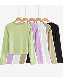 Fashion Army Green Large Open Back Slim Long-sleeved T-shirt Top