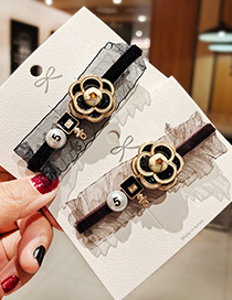 Fashion Coffee Color Alloy Camellia Pearl Oil Drop Hairpin