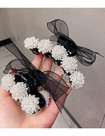Fashion Small 7cm Pearl Lace Bow Resin Grip