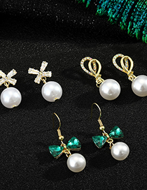 Fashion Green Bow 925 Silver Needle Bow Pearl Earrings