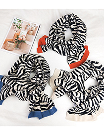 Fashion Zebra Pattern Rice Edge Double-sided Wool Knitted Scarf