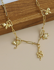 Fashion Golden Copper Thick Chain Bee Turtle Necklace