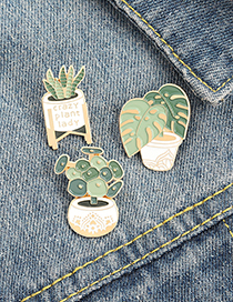 Fashion Aloe Monstera Cactus Aloe Potted Plant Brooch