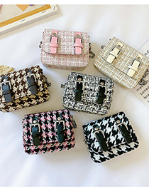 Fashion Coffee Color Childrens Houndstooth Wool Crossbody Bag