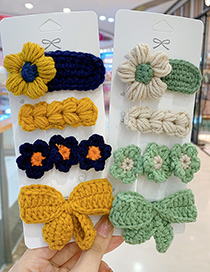 Fashion Green Bow Series [4 Piece Set] Childrens Wool Bow Hairpin