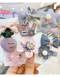 Fashion Khaki Bunny Flowers Childrens Hairpin With Bow