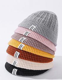 Fashion Pink Pure Color Knitted Letter Mark Woolen Fisherman Hat