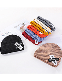 Fashion White Letter Patch Knitted Woolen Hat