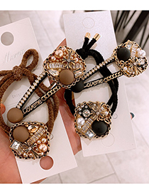 Fashion Hair Rope Coffee Color Diamond-studded Pearl Geometric Knotted Hair Rope Hairpin