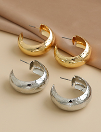 Fashion Gold Color Alloy Geometric Pattern Semicircular Earrings