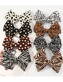 Fashion Black Zebra Pattern Leopard Dot Printed Big Butterfly Fabric Hairpin