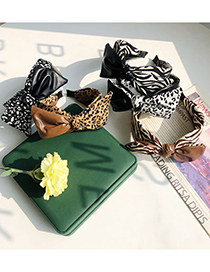Fashion Striped Khaki Leopard Print Bowknot Fabric Pu Leather Stitching Headband