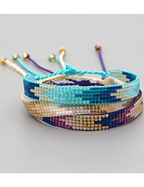 Fashion Blue Rice Beads Woven Geometric Gradient Pure Handmade Bracelet