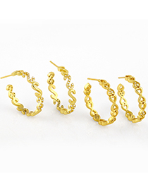 Fashion Letter Geometric C-shaped Gold-plated Copper Earrings With Diamonds
