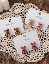 Fashion Beige Flocking Bow Bear Earrings