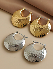 Fashion Gold Color Alloy Concave And Convex Surface Hollow Round Earrings