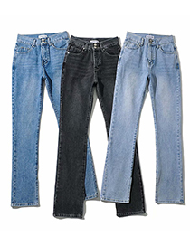 Fashion Dark Gray Washed Inner Slits And Loose Denim Mopping Pants