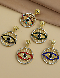 Fashion Color Alloy Diamond Hollow Round Glasses Stud Earrings