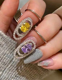 Fashion Purple Micro-set Zircon Geometric Open Ring Nail Cover