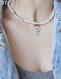 Fashion White Dollar Sign Diamond Pearl Alloy Necklace
