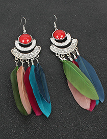 Fashion Red Crescent Shaped Long Feather Alloy Earrings