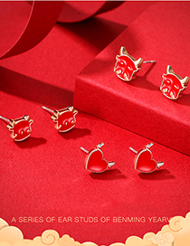 Fashion 01 Red Bull Zodiac Calf Love Heart Dripping Copper Gold-plated Earrings