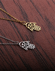 Fashion Rigid Color Titanium Steel And Stainless Steel Palm Pendant Necklace