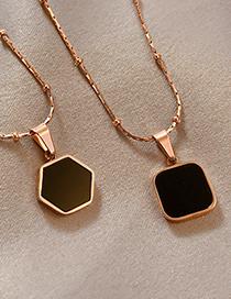 Fashion Hexagonal Pendant Real Gold Electroplated Titanium Steel Geometric Necklace