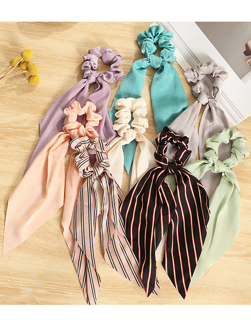 Fashion Pink Stripes Striped Satin Cloth Printed Wide-sided Streamer Large Intestine Circle Hair Rope
