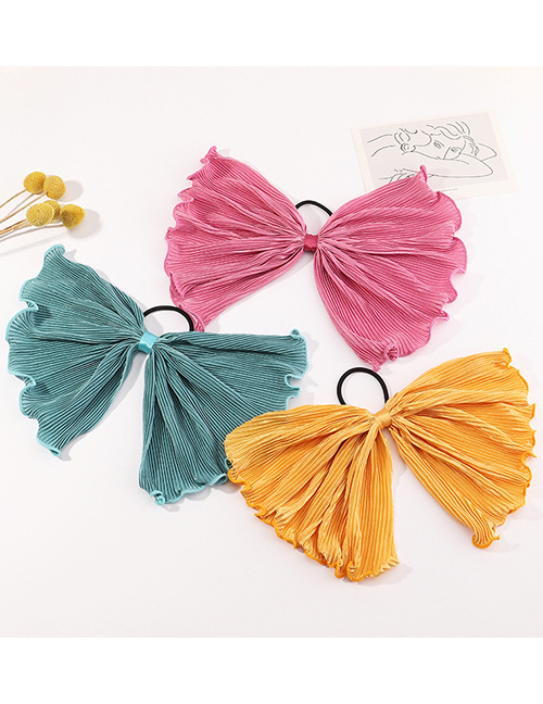 Fashion Blue Bowknot Pleated Solid Color Ribbon Hair Rope