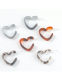 Fashion Dark Brown Notched Heart Shaped Resin Earrings