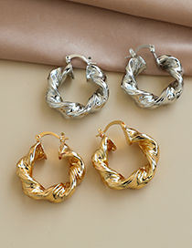 Fashion Silver Color Alloy Twisted Round Ear Studs