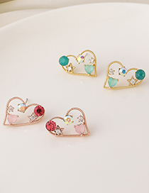 Fashion Pink Love Micro-inlaid Zircon Irregular Hollow Alloy Earrings
