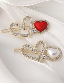 Fashion Red Pearl Rhinestone Love Alloy Hollow Hairpin